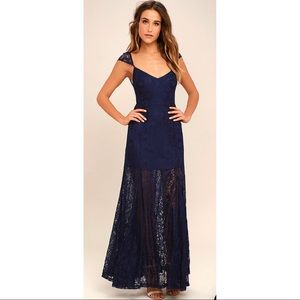 🆕Lulus Evening Dreaming Navy Blue Lace Maxi Dress